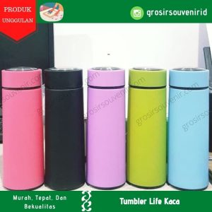 Tumbler Botol LIFE Botol Minum Kaca pelindung Plastik 450ml – BT002