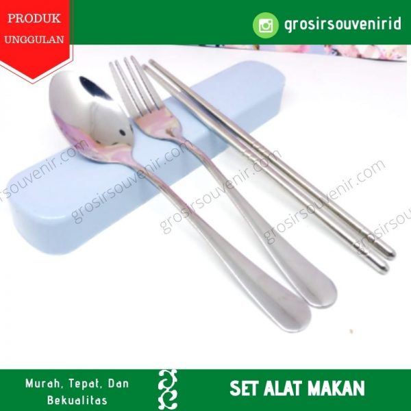 satu set alat makan sendok garpu sumpit steinless souvenir promosi sablon