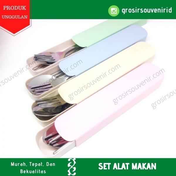 satu set alat makan sendok garpu sumpit steinless souvenir promosi sablon (3)